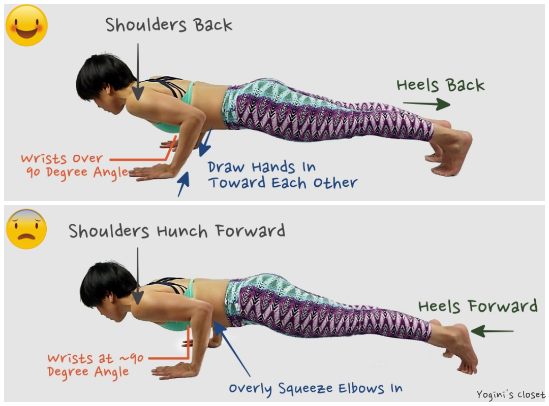 Chaturanga Dandasana Alignment correct by Yoginis Closet. Outfit by Liquido