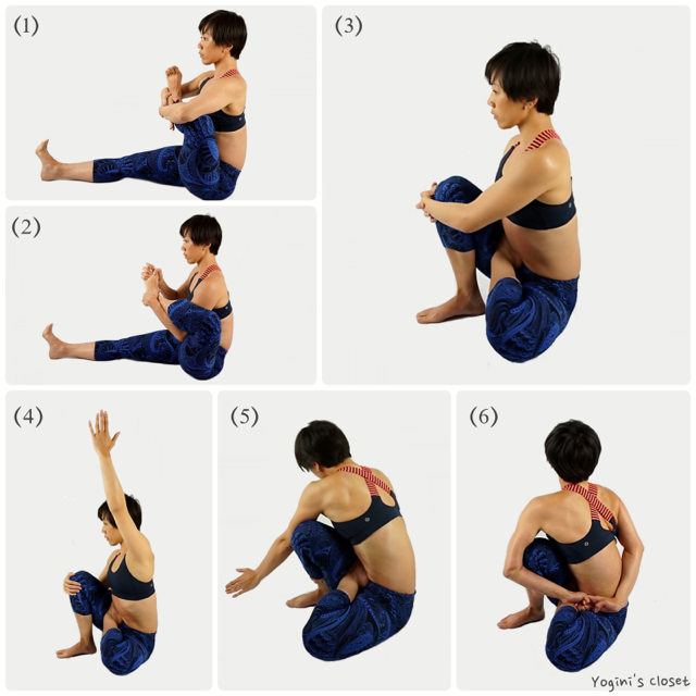 Step by step break down for Marichyasana D. Yoginis closet, liquido active