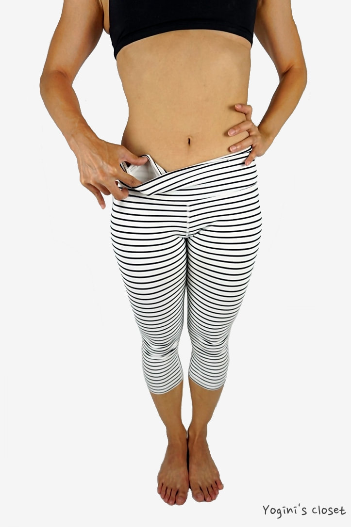 Yoginis Closet Glyder Mantra Crop: White & Black Stripe Yoga Pants Review