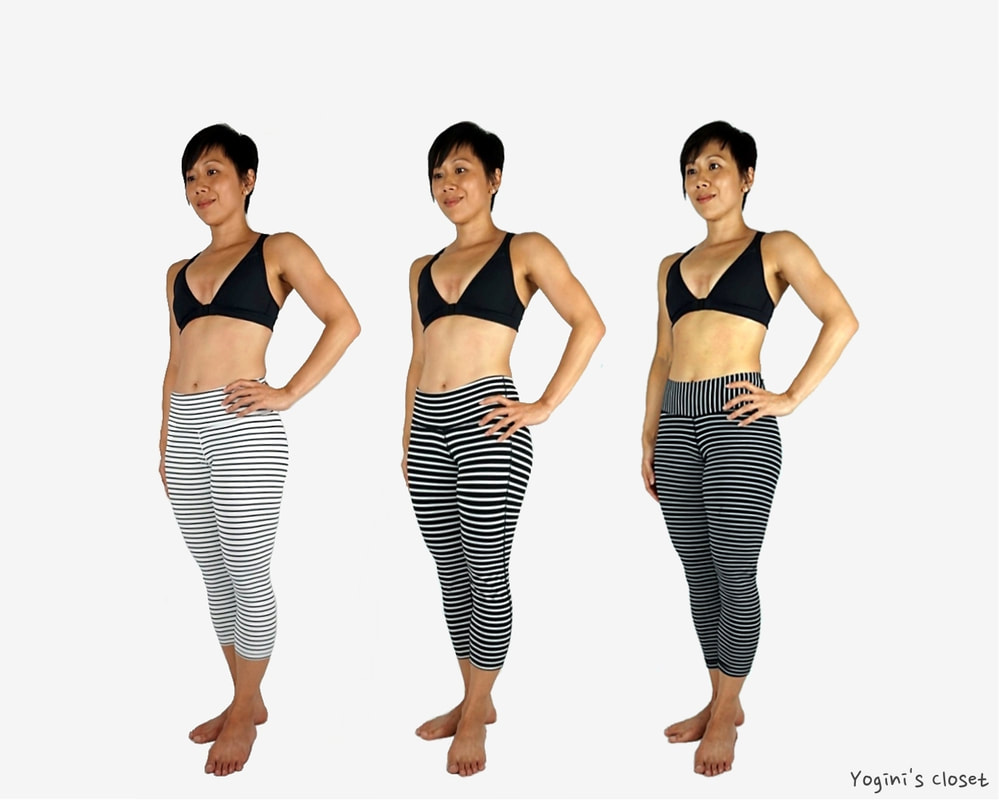 Yoginis Closet Glyder Mantra Crop: White & Black Stripe Yoga Pants Review, Athleta Stripes Chaturanga Capri, Lululemon Wunder Under Crop black parallel stripe